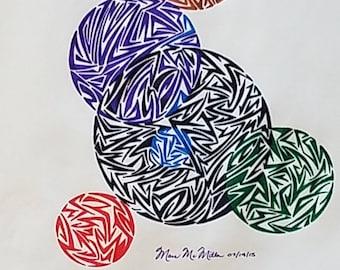 Original Modern Geometrical Drawing, Abstract Drawing, Abstract Art, Circular Art