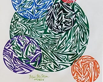 Original Modern Circular Abstract Art, Original Abstract Drawing, Circles, Geometrical Art, Circle Art