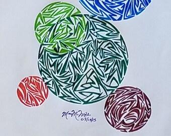Original Geometrical Abstract Drawing, Modern Art, Contemporary Art, Circle