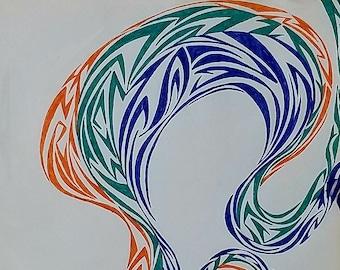 Original Abstract Drawing, Original Abstract Art, Abstract Drawing, Abstract Swirl