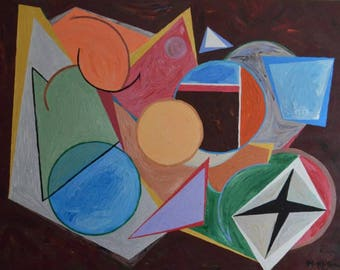Original Modern Abstract Art with floating shapes
