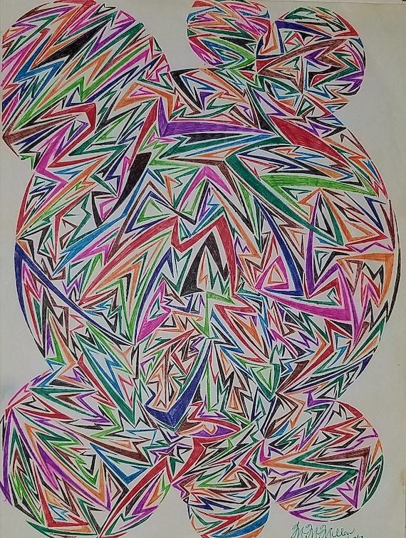 Art Abstrait Geometrique Dessin Abstrait Dessin Geometrique Etsy
