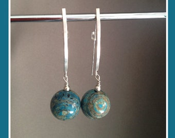 Dangling earrings beads blue crazy lace agate