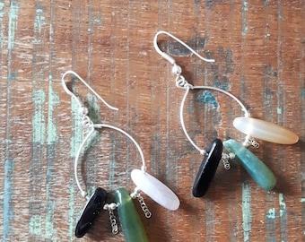 Boho earrings in 925 sterling silver and carnelian, hematite, aquamarine gems
