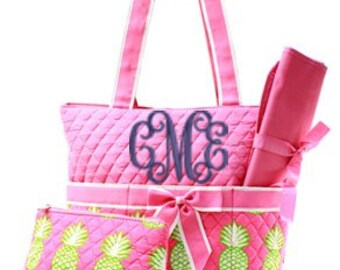 Preppy Pink and Green Pineapple 3 Piece Diaper Bag WITH Monogramming Option