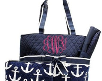 Anchor Navy Diaper Bag WITH Monogramming Option