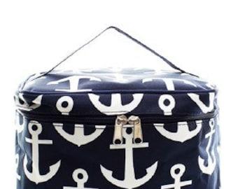 Navy Anchor Cosmetic Case w/ Monogram Option