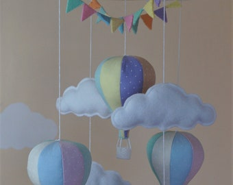 Unisex hot air balloon nursery baby mobile with bunting in pastel rainbow