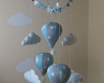 hot air balloon baby mobile bunting Blue clouds grey stars