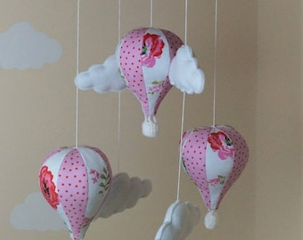 Cath Kidston Hot air balloon baby mobile with bunting pink