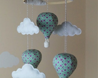 Hot Air balloon baby mobile in various designs Pink and mint