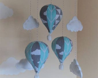Hot air balloon nursery mobile yellow /mint/lime/navy/blue and grey / rainbow  MADE TO ORDER