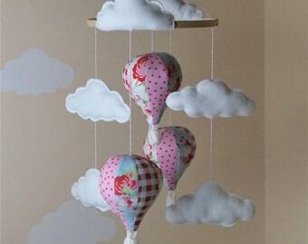 Handmade nursery  hot air balloon baby mobile decorations Cath Kidston