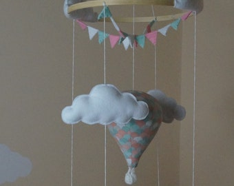 Hot air balloon nursery mobile mint and pink Scallop Ready to ship