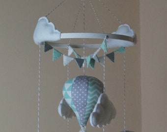 Light mint and grey hot air balloon baby mobile Chevron, triangle, grey polka