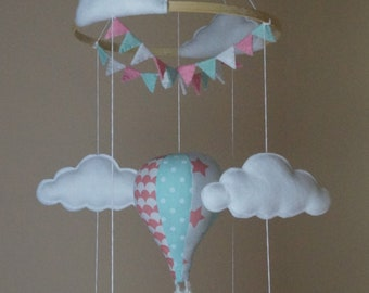 Hot air balloon nursery mobile mint polka with pink Scallop and stars