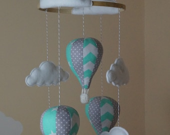 Unisex hot air balloon nursery baby mobile mint and grey