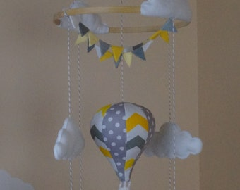 Unisex Hot air balloon baby mobile with bunting yellow grey chevron and grey