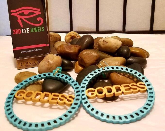 Goddess Hoop Design Dangle Earrings