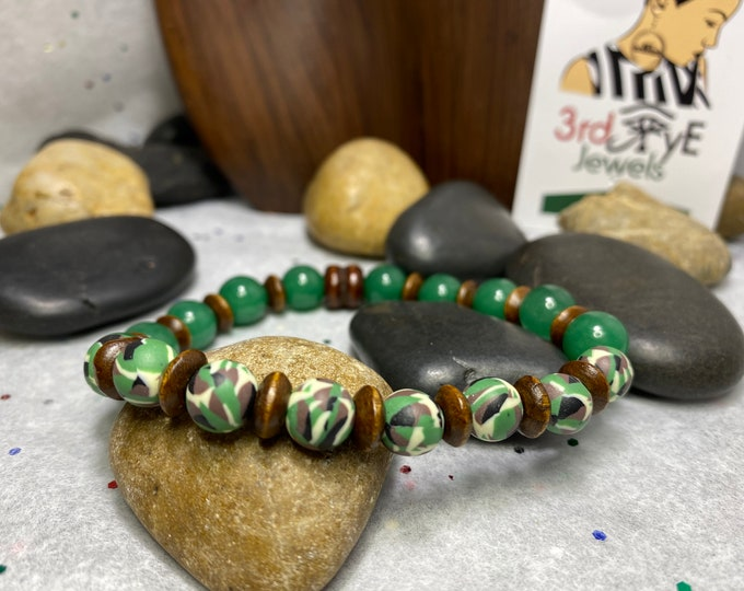 Handmade Men's Stretch or Ladies (XL) Bracelet with Jade Stone, Camouflage Beads and Wood Accents
