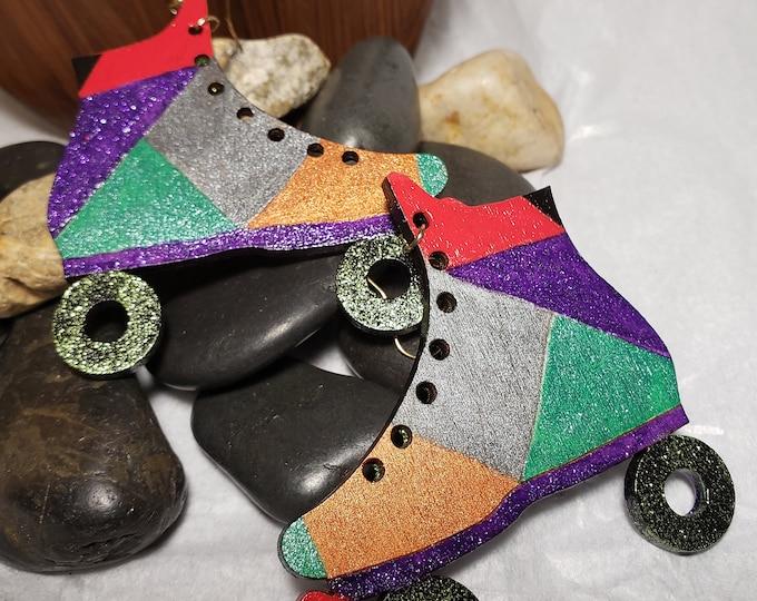 Hand Painted Roller Skates Earrings