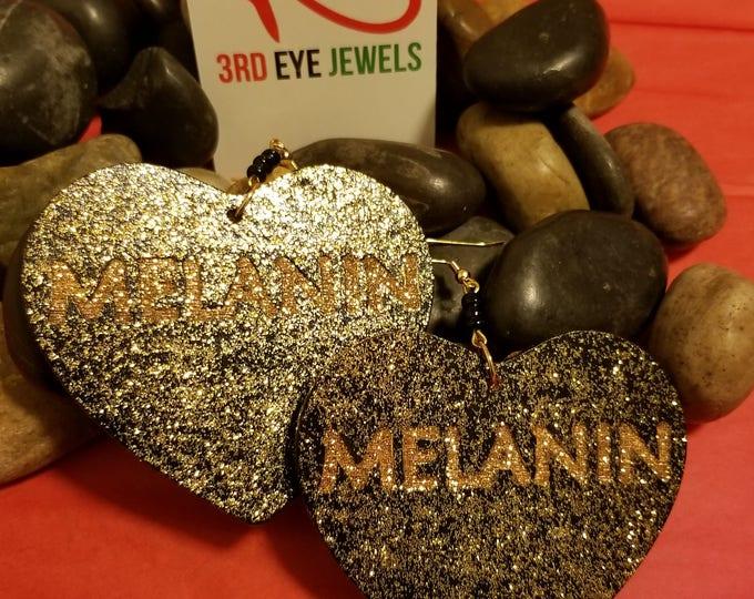 Black and Gold Melanin Heart Earrings