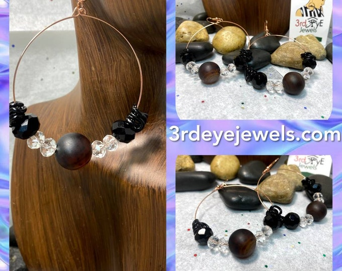 Handmade Wire Hoop Earrings, Agate Stones and Glass Beads
