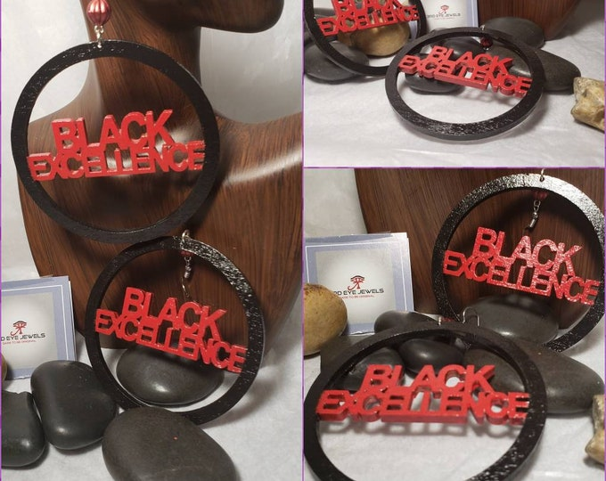 Hand Painted Black and Red Black Excellence Hoop Earrings