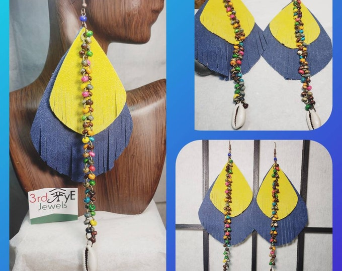Handmade Exotic Fringe Leaf with Beaded Chain and Cowrie Shells