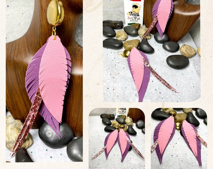 Faux/Vegan Leather Feather Earrings