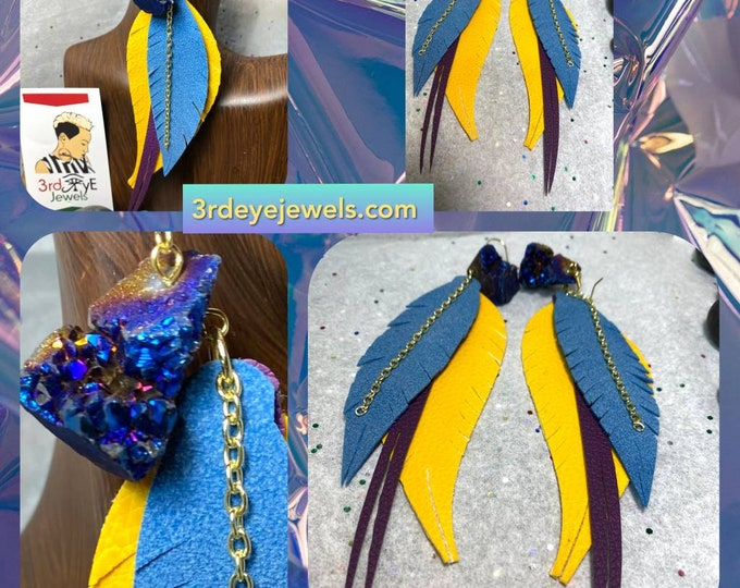 Handmade Extoic Vegan/Faux Leather Bird Feather Earrings with Purple Druzy Stone