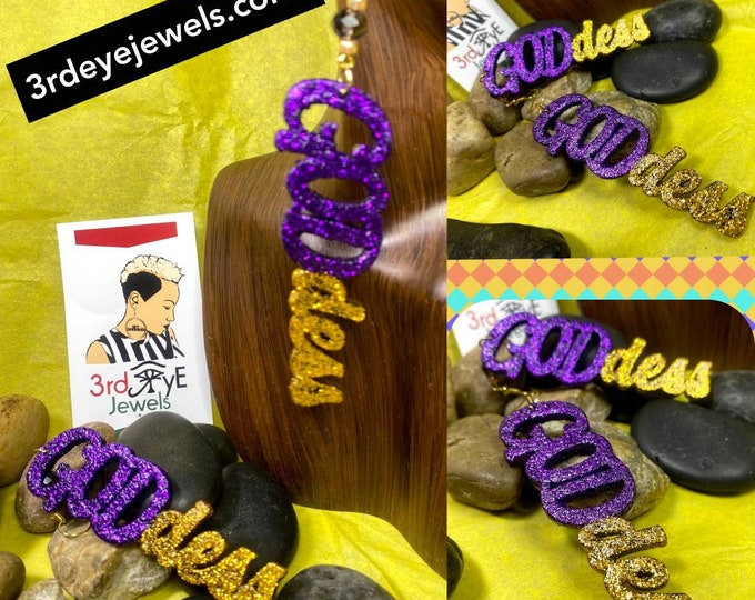 Hand Painted Purple and Gold:  GODdess Dangle Earrings
