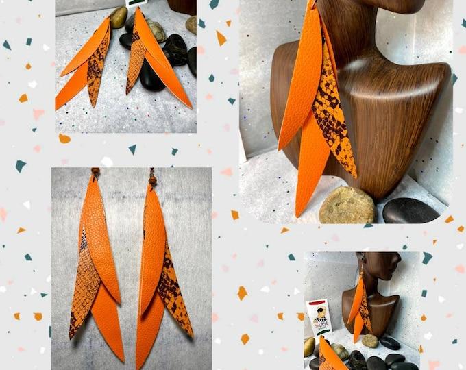 Exotic Orange and Snake Print Dangle Earrings