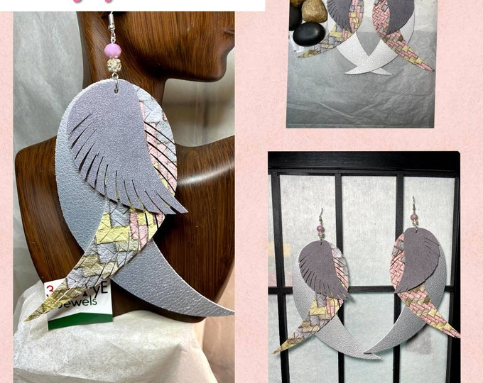Faux Leather Exotic Bird Feather Earrings!