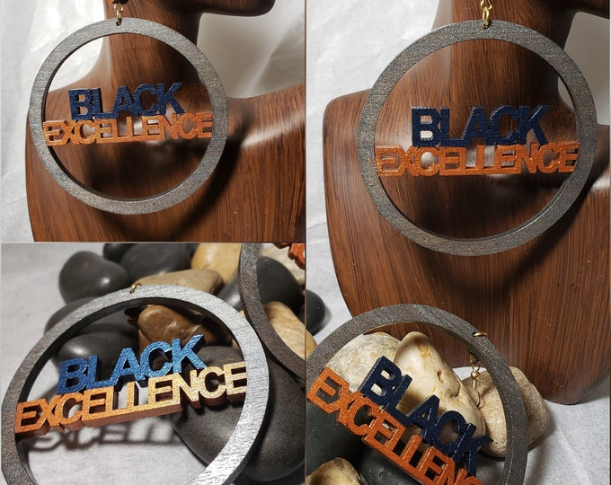 Black Excellence:  Hand Painted Hoop Earrings