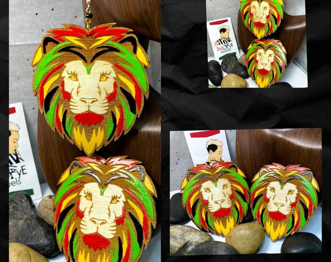 Hand Painted Rasta Lion Head Earrings