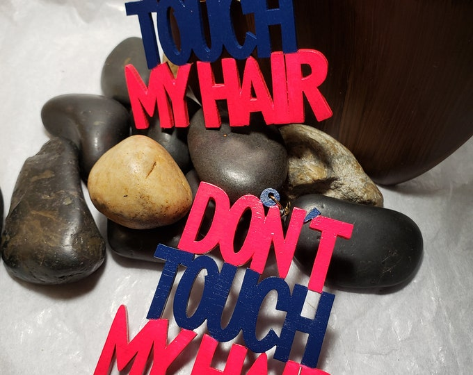 Don't Touch My Hair:  Hand Painted Neon Pink and Blue