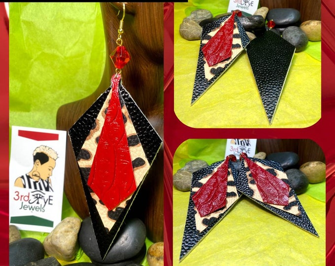 Exotic Animal Print Faux Leather Earrings