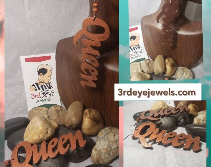 Hand Painted Brown Dangle  Queen Earrings