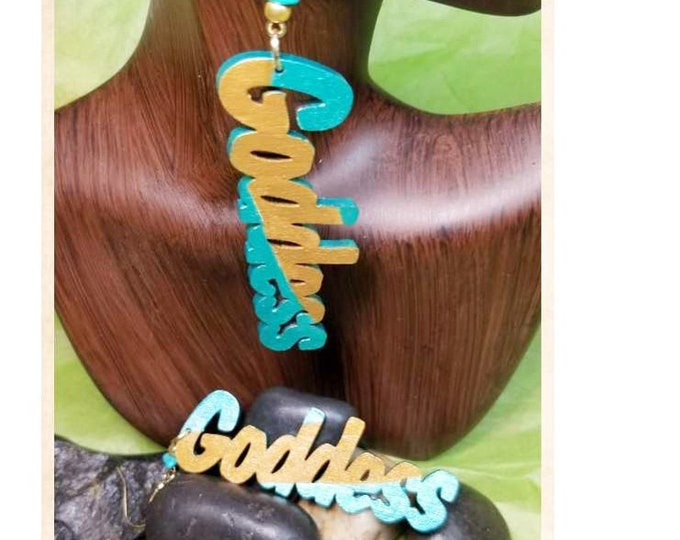 Hand Painted Goddess Dangle Earrings