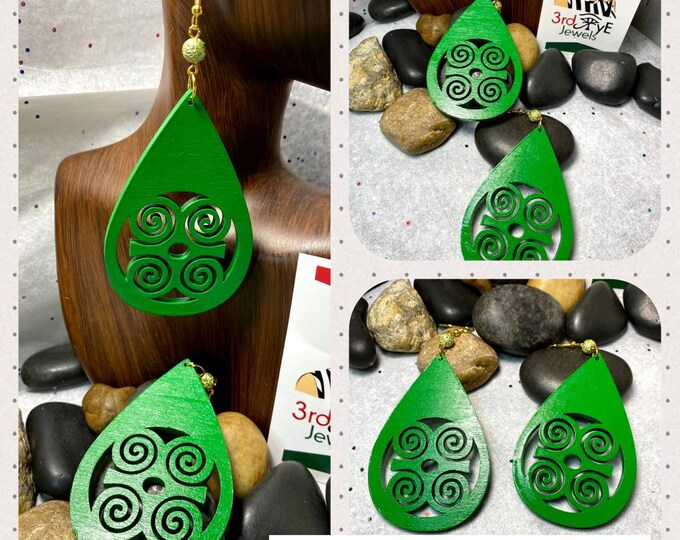 Hand painted Green African Adinkra Symbol Earrings
