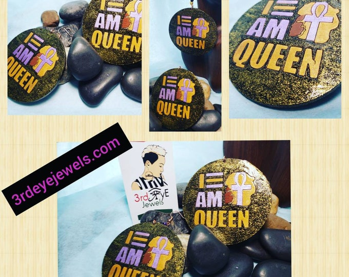 Hand painted I AM Queen Earrings