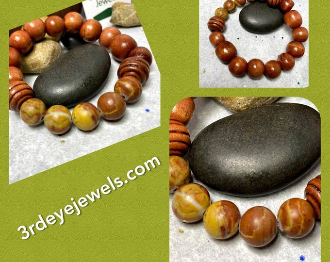 Men's Stretch Bracelet with Big Picasso Jasper and Wood Beads