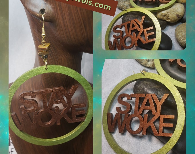 Hand Painted Stay Woke Hoop Earrings