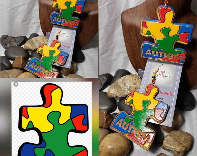 Wood Earrings:  Autism Puzzle Piece Hand Painted Earrings
