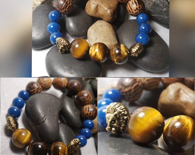 Men's Stretch Bracelet with Wood Beads, Blue Jade, Tiger's Eye and Lion head accents.