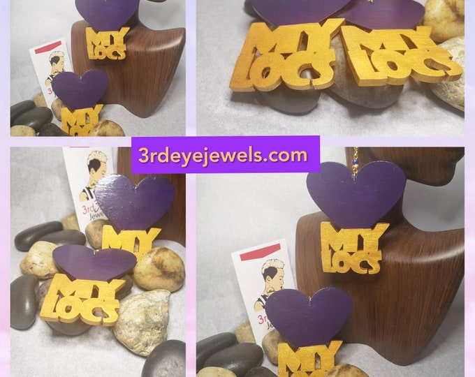 Hand Painted Purple and Gold LOC Heart Earrings