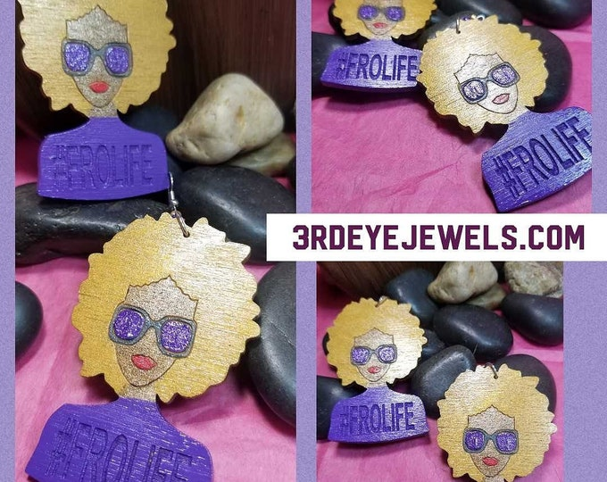 FRO Life Earrings:  Hand painted Gold and Purple