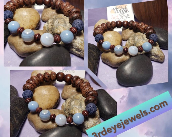 Men's Blue Agate, Lava Stones and Wood Beads Stretch Bracelet