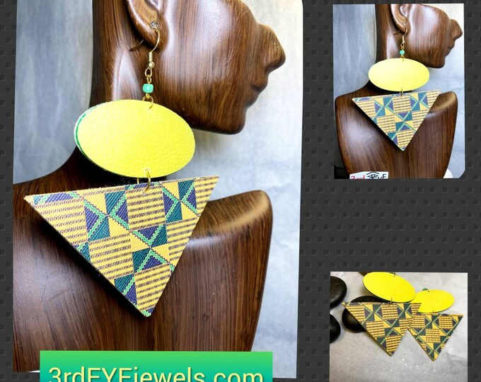 Exotic Abstract African Print Faux Leather Earrings